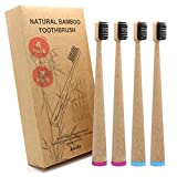 Bambus Zahnbürsten 4er Pack Plus 8 Interdentalbürsten Selbststehend Bambus Zahnbürsten Umweltfreundliche Mittelweiche Natürliche Biologisch Abbaubare Zahnbürste mit Recycelbarer