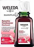 WELEDA Ratanhia Mundwasser, Naturkosmetik Mundspülung ohne Fluorid mit ätherischen Ölen für frischen Atem und gesunde Mundschleimhaut, natürliche Munddusche zur Pflege des Zahnfleisches (1 x 50 ml)