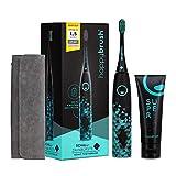 happybrush® Elektrische Schallzahnbürste | Elektrische Zahnbürste Schall VIBE 3 Schwarz mit Aufsteckbürste, Travelcase & Teeth Whitening Zahnpasta für Weiße Zähne